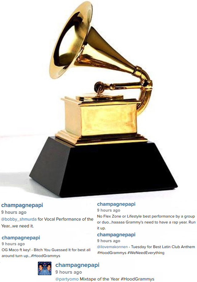 DRAKE AWARDS HOOD GRAMMYS