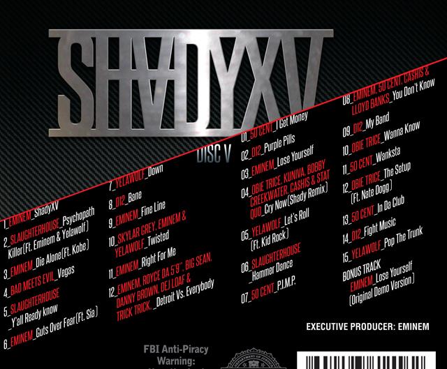SHADY XV TRACKLIST